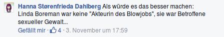 Facebook Kommentar von Hanna Dahlberg