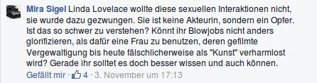 Facebook Kommentar von Mira Sigel