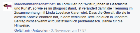 Mädchenmannschaft Facebook Kommentar