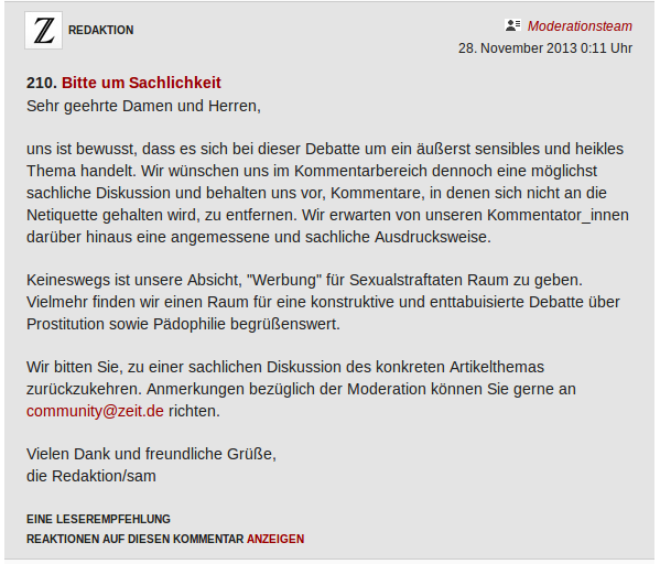 Screenshot Kommentar der ZEIT Moderation